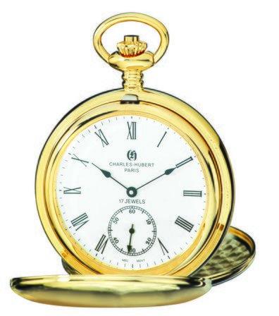 Satin Gold Charles Hubert Pocket Watch & Chain #3908-GR
