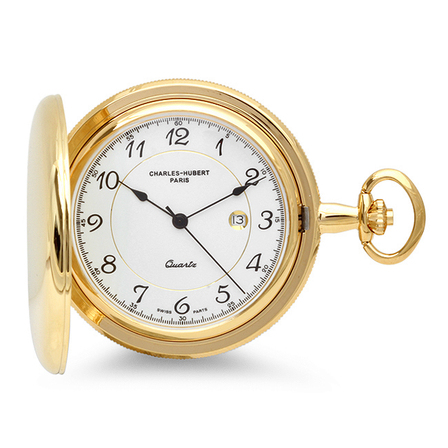 Engraved Gold Charles Hubert Quartz Pocket Watch & Chain #3517