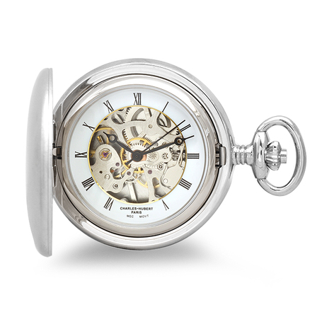 Engraved Mechanical Charles Hubert Pocket Watch & Chain #3594