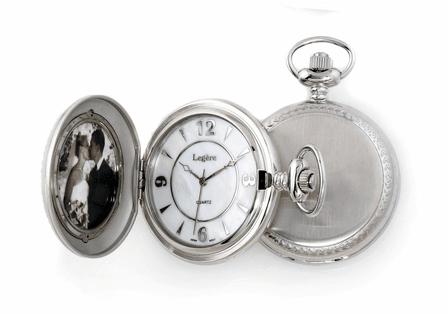 Satin Steel Photo Insert Quartz  Pocket Watch