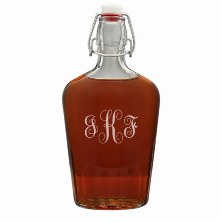 Script Monogram Large Vintage Glass Flask