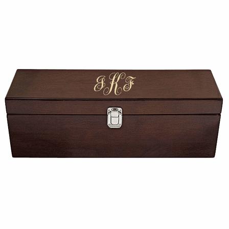 Script Monogram  Single Bottle  Wine Presentation Box with Tools