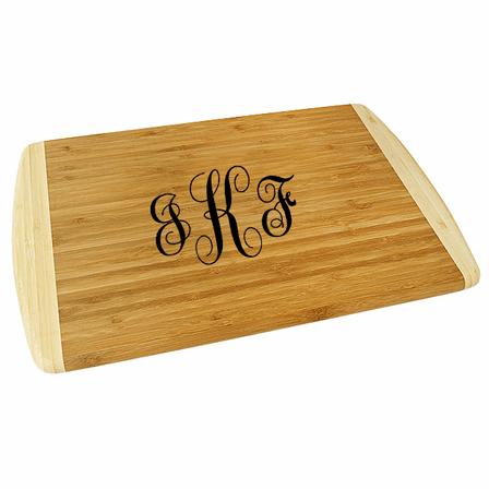 Script Monogram  Two Tone Bamboo Cutting Board - Small