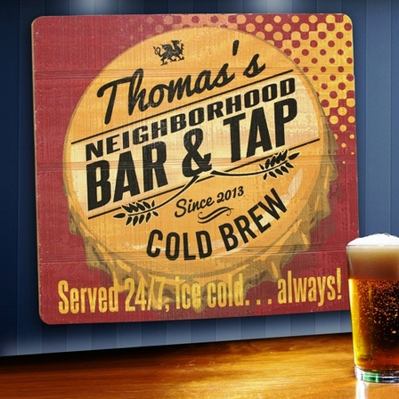 Served 24/7  Wooden Bar Sign - Free Personalization