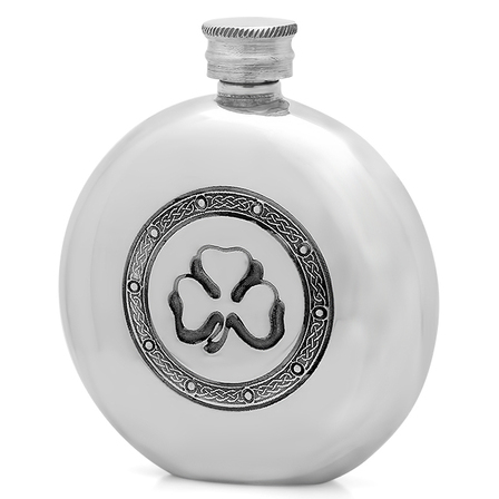Shamrock Round Pewter Flask