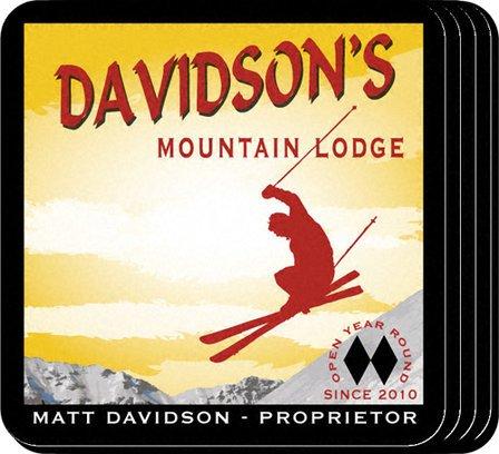 Ski Lodge Coaster Set - Free Personalization