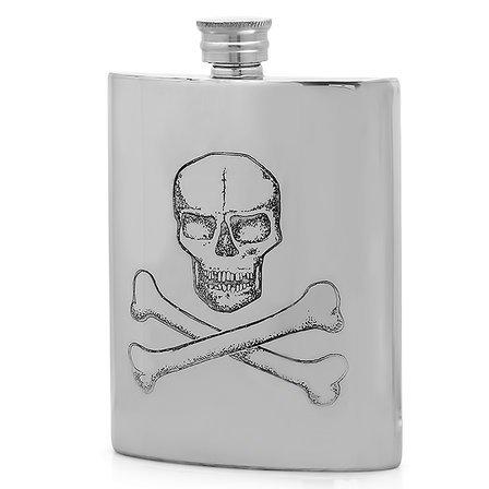 Skull & Crossbones  Pewter Flask