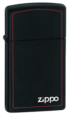 Slim Black Matte with Zippo Logo & Border Zippo Lighter - ID# 1618ZB