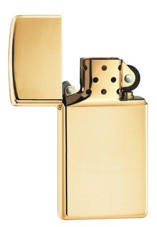 Slim High Polish Brass Zippo Lighter - ID# 1654B