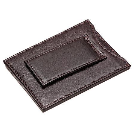 Slimline Personalized Leather Wallet with Magnetic Money Clip
