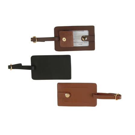 Snap Closure Genuine Leather Luggage Tag