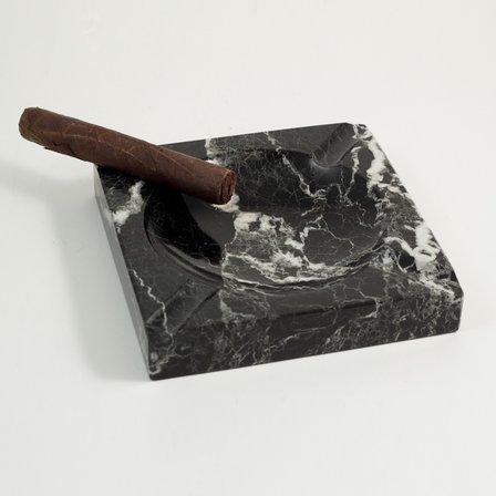 Solid  Marble  Square  Ashtray  -  Black