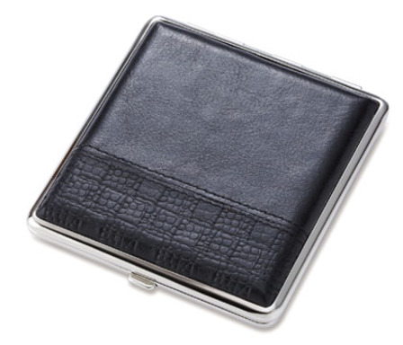 Square Black Leather Cigarette Case for Kings