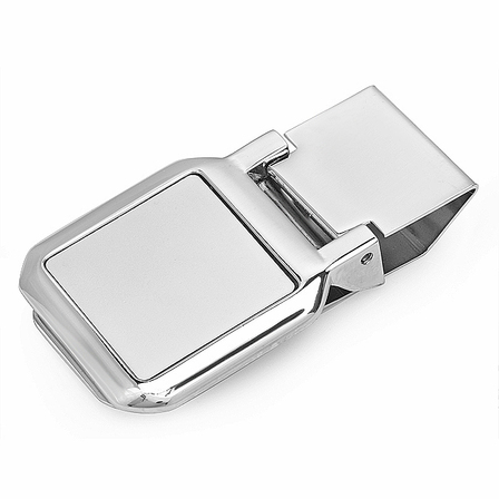 Square Face Engraved Hinged Money Clip