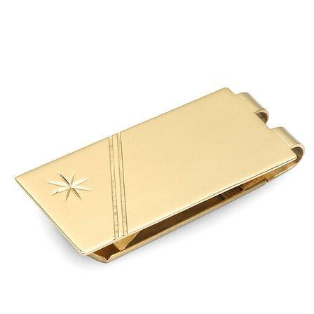 Gold Starburst Engraved Spring Loaded Money Clip