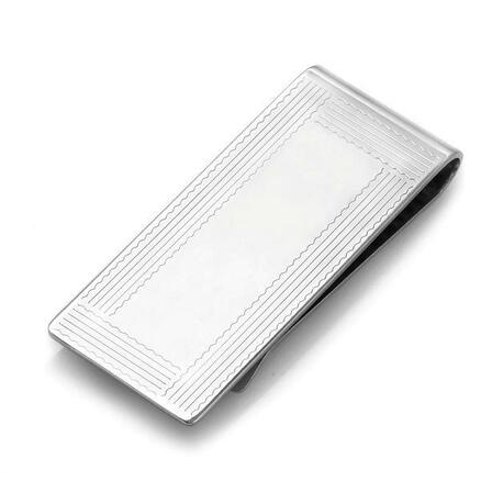 Sterling Silver  Border Collection Engraved French Fold Money Clip