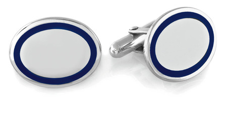 Sterling Silver Navy Border Oval Engravable Cufflinks