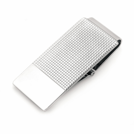 Sterling Silver Textured Money Clip with Hinged Grip