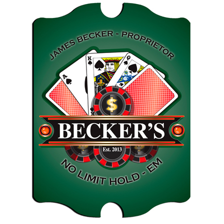 Texas Hold 'Em Poker Vintage Pub Sign - Free Personalization