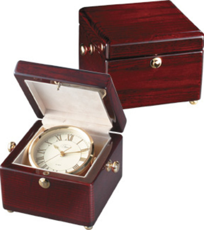 Treasure Chest Piano Finish Mahogany Captain's Clock