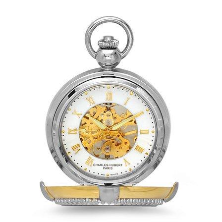 Two Tone Mechanical Charles Hubert Pocket Watch & Chain #3846