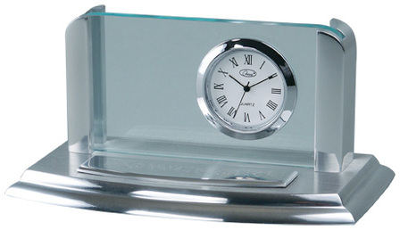 Two Tone Silver Business Card Holder & Clock - Free Engraving