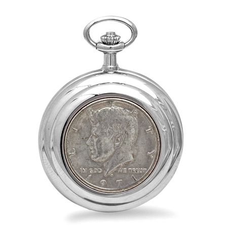 Kennedy Half Dollar Charles Hubert Pocket Watch & Chain #3835