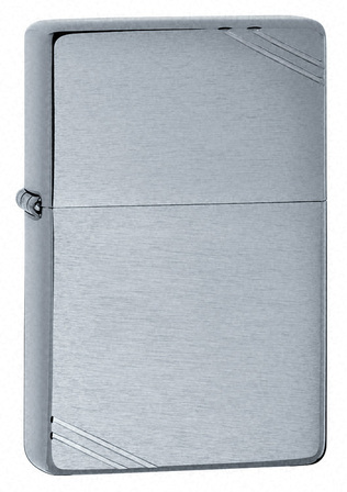Vintage with Slashes Brushed Chrome Zippo Lighter - ID# 230