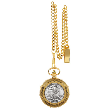 Walking Liberty Half Dollar Goldtone Pocket Watch & Chain