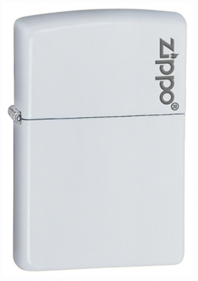 White Matte with Zippo Logo Zippo Lighter - ID# 214zl