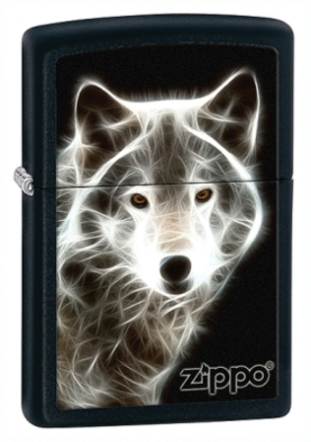 White Wolf Black Matte Zippo Lighter - ID# 28303