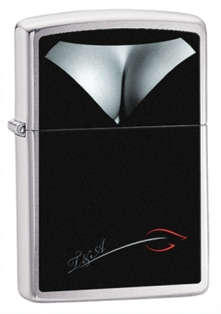 Woman's Bust Decolletage Brushed Chrome  Zippo Lighter - ID# 28273