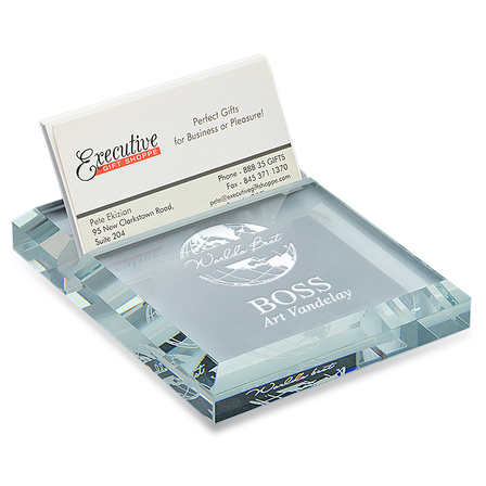 World's Best Boss Crystal Business Card holder & Paperweight
