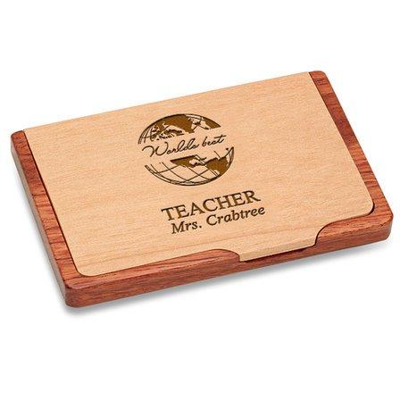 World's Best Teacher  Pocket/Desktop Business Card Holder