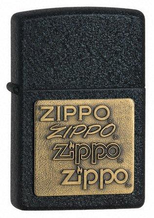Zippo Brass Emblem Black Crackle Zippo Lighter - ID# 362