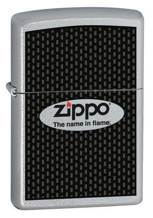 Zippo Name in Flame Satin Chrome Zippo Lighter - ID# 24035