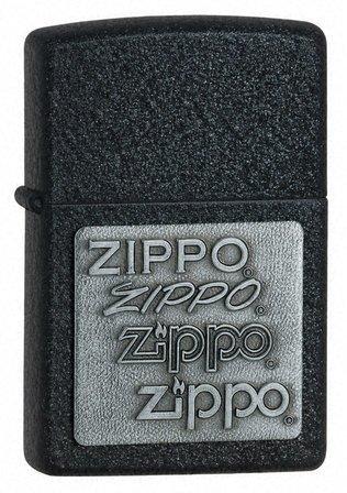 Zippo Pewter Emblem Black Crackle Zippo Lighter - ID# 363