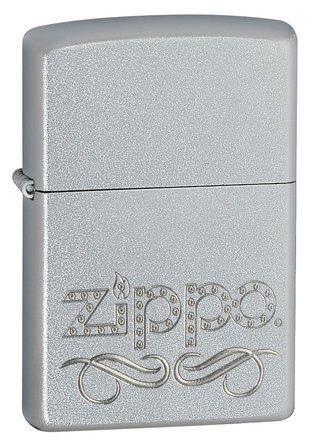 Zippo Scroll Satin Chrome Zippo Lighter - ID# 24335