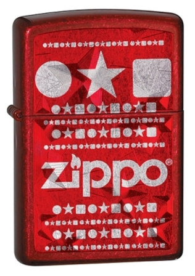 Zippo Stars Candy Apple Red Zippo Lighter - ID# 28342
