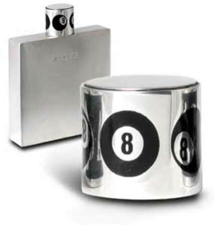 Pewter Flask with 8 Ball Cap