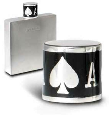 Pewter Flask with Ace of Spades Cap