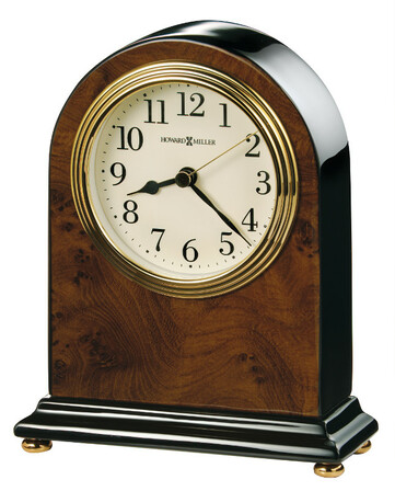 Bedford Piano Finish Walnut Table Clock by Howard Miller