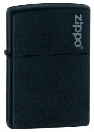 Black Matte with Zippo Logo Zippo Lighter - ID# 218ZL