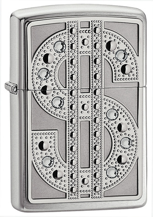 Bling Dollar Sign Polished Chrome Zippo Lighter - ID# 20904