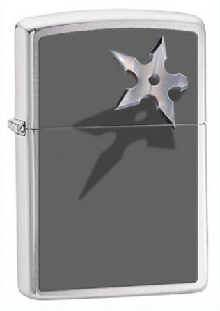 Chinese Star Brushed Chrome Zippo Lighter - ID# 28030