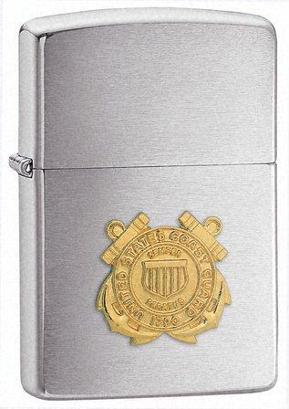 Coast Guard Emblem Brushed Chrome Zippo Lighter - ID# 280CG