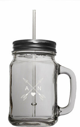 Cupid's Arrows Personalized 16 Ounce Mason Jar W/ Straw
