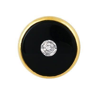 Diamond & Onyx 14 Karat Gold Tie Tack