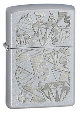 Diamonds & Dollars Satin Chrome Zippo Lighter - ID# 24882 -Discontinued