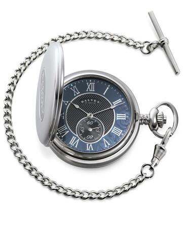 Full Hunter Black Dial Pocket Watch & Stand by Dalvey